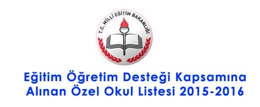 Eğitim Öğretim Desteği Kapsamına Alınan Özel Okul Listesi