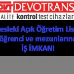 Mesleki Açık Öğretim Lisesi öğrenci ve mezunlarına iş imkanı İstanbul