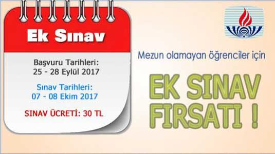 AÖL ek sınav başvuru ve sınav tarihi 2017