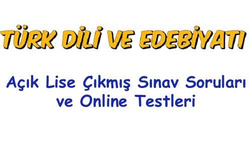 Açık Lise Türk Dili ve Edebiyatı Testleri