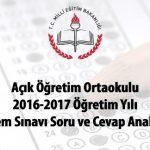 1 Temmuz 2017 Tarihinde Yapılan Açık Öğretim Ortaokulu Sınavı Soru ve Cevap Anahtarları